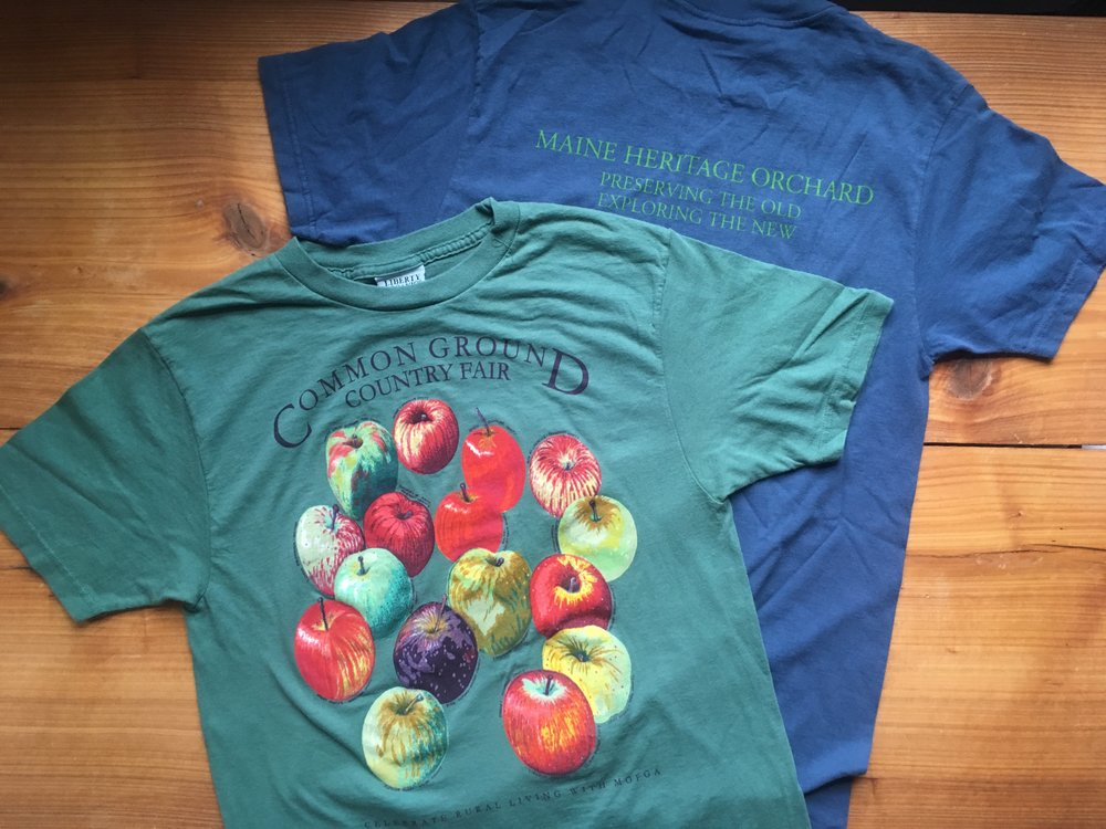 Reprinted t-shirts. Apple paintings by John Bunker, printed by Liberty Graphcis photo by Laura Sieger
