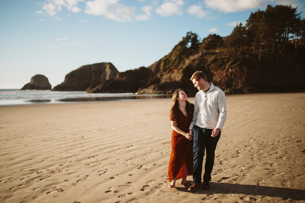 Sunset engagement session on the Oregon Coast, Cannon Beach