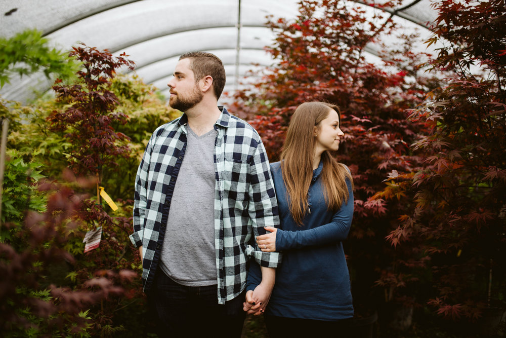Engagement session in Nashville greenhouse