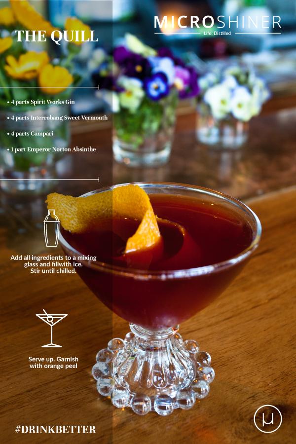 cocktail made with Spirit Works and Raff Distillerie craft spirits