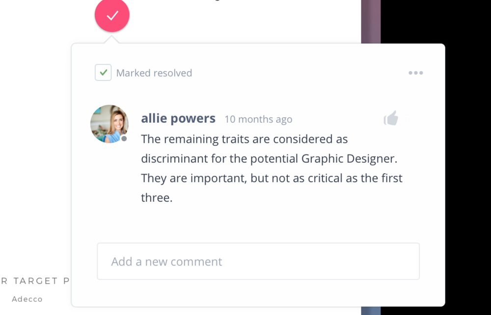 Example of an InVision comment left by Allie