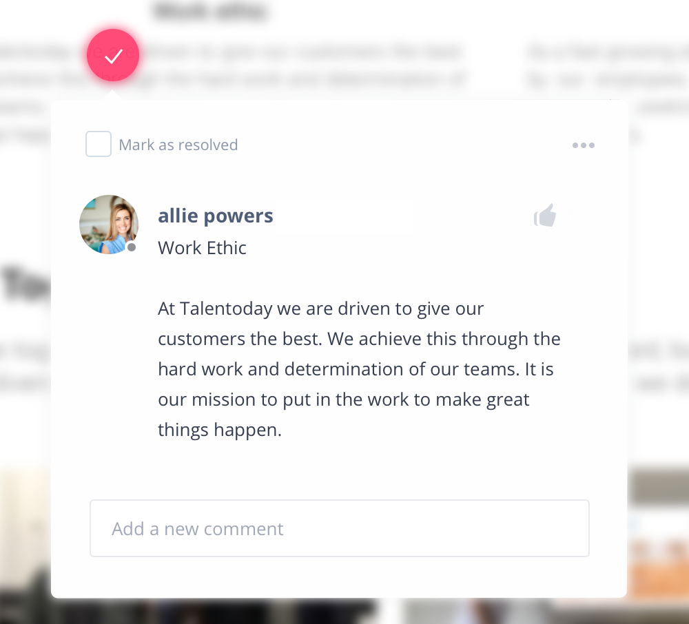 Example of InVision comment from my colleague Allie to send me marketing updates