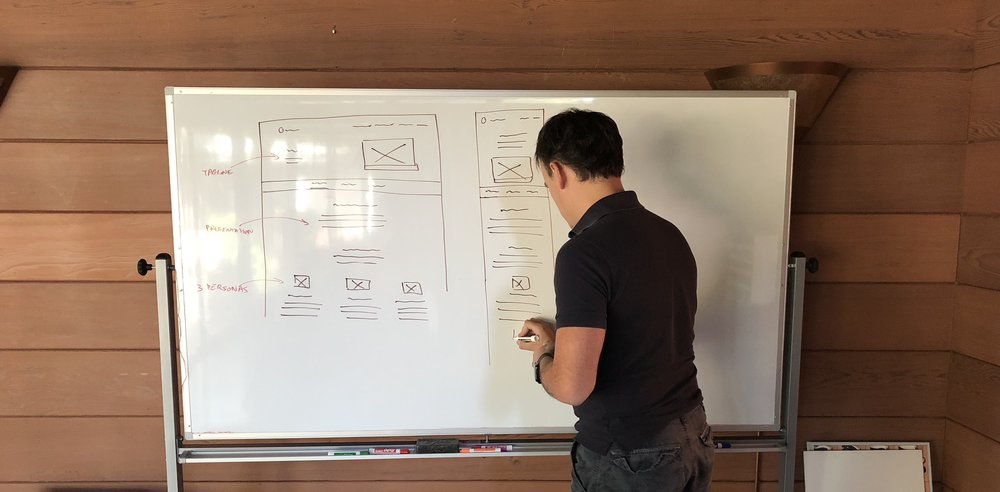 White-boarding is really important to me. It helps me save time by being able to iterate on a low-fidelity version of the website.