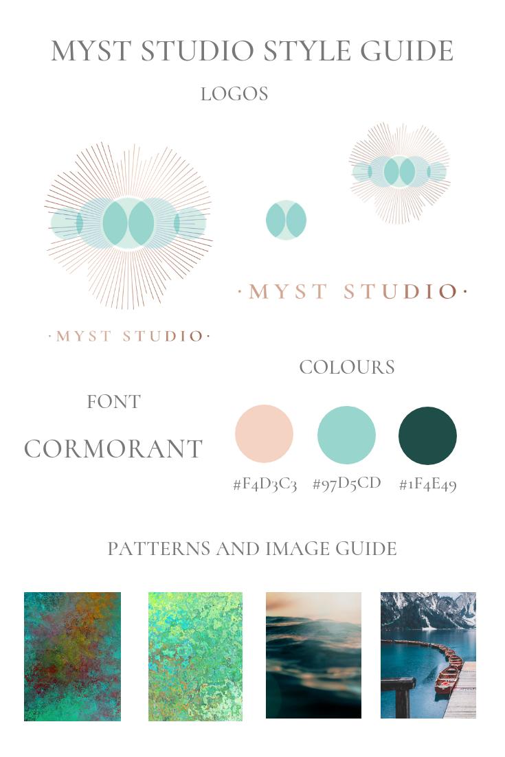 Style guide for MYST Studio online meditation studio