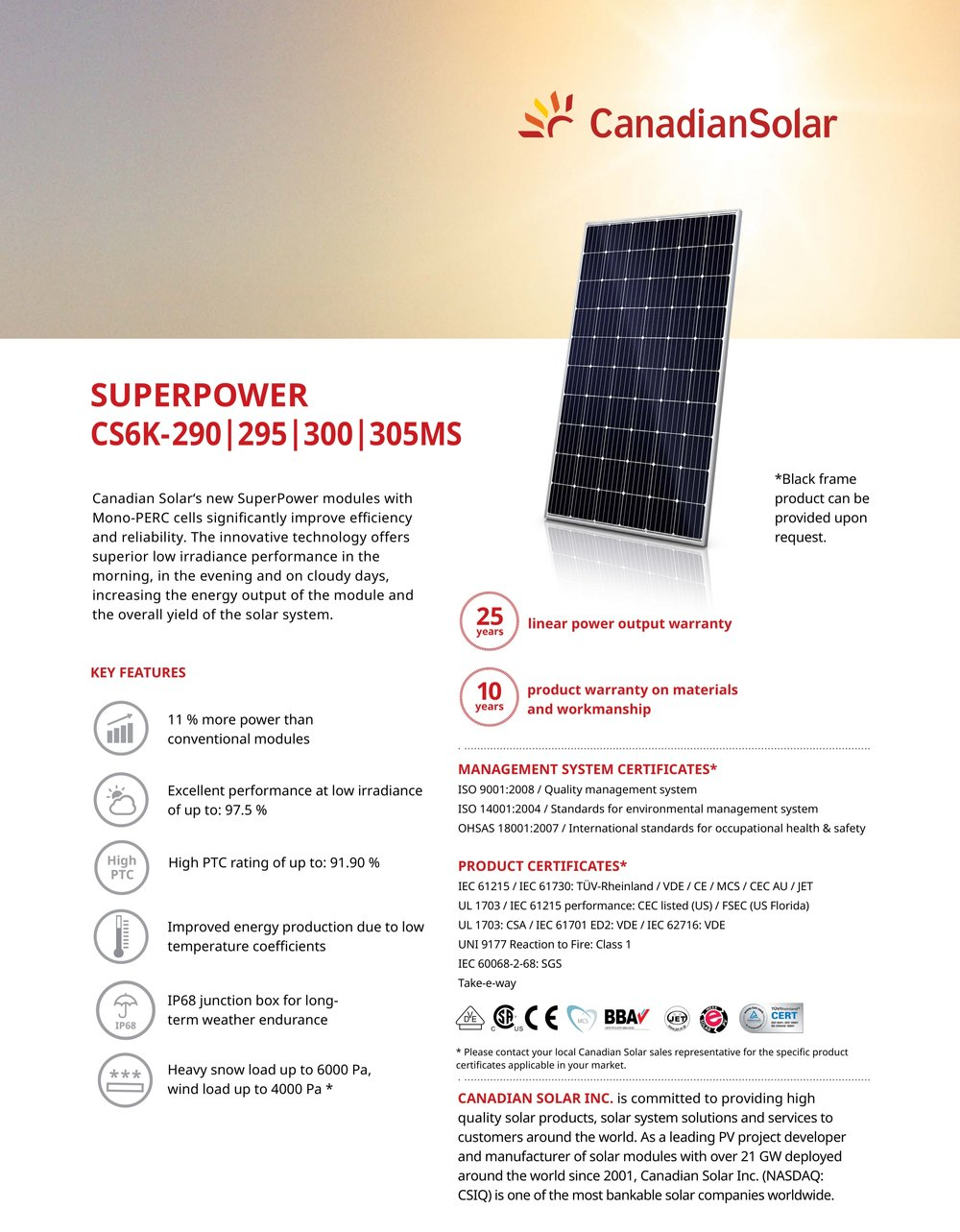 Canadian Solar 300 Watt spec — MySolar