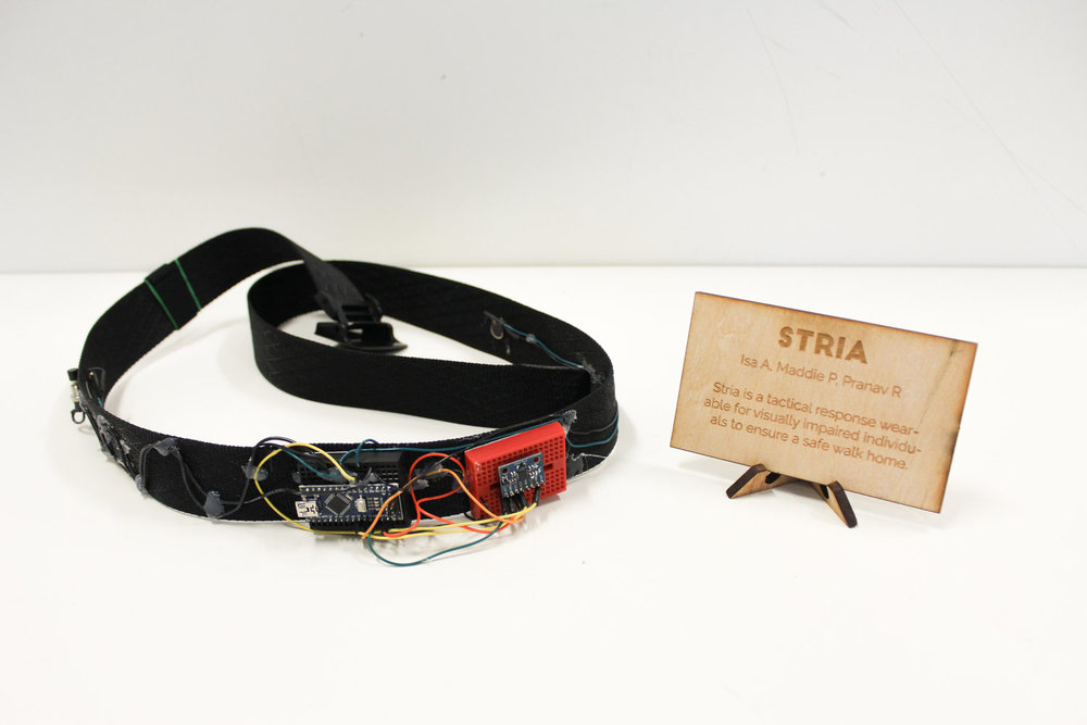 Team Stria's product, a belt for the blind that alerts its wearer if they begin to veer.