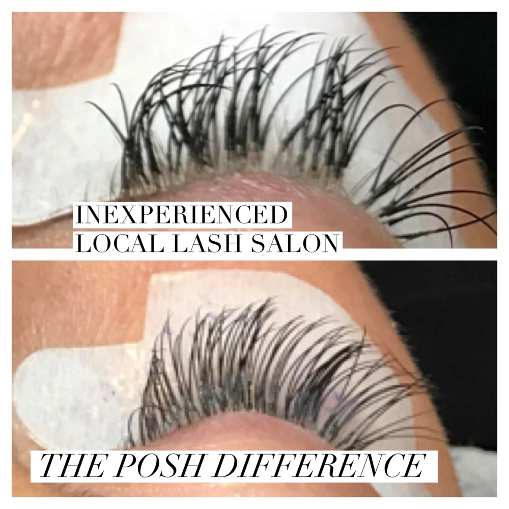 These are a set of competitors lashes the extensions are clumpy and attached to multiple lashes causing damage to natural lashes!!!! Posh was able to detach the harmful extensions, saving the natural lash from damage. and was able to correct the set, with a lash rehab and fill in!!!
