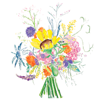 A watercolor illustration of summer flowers.