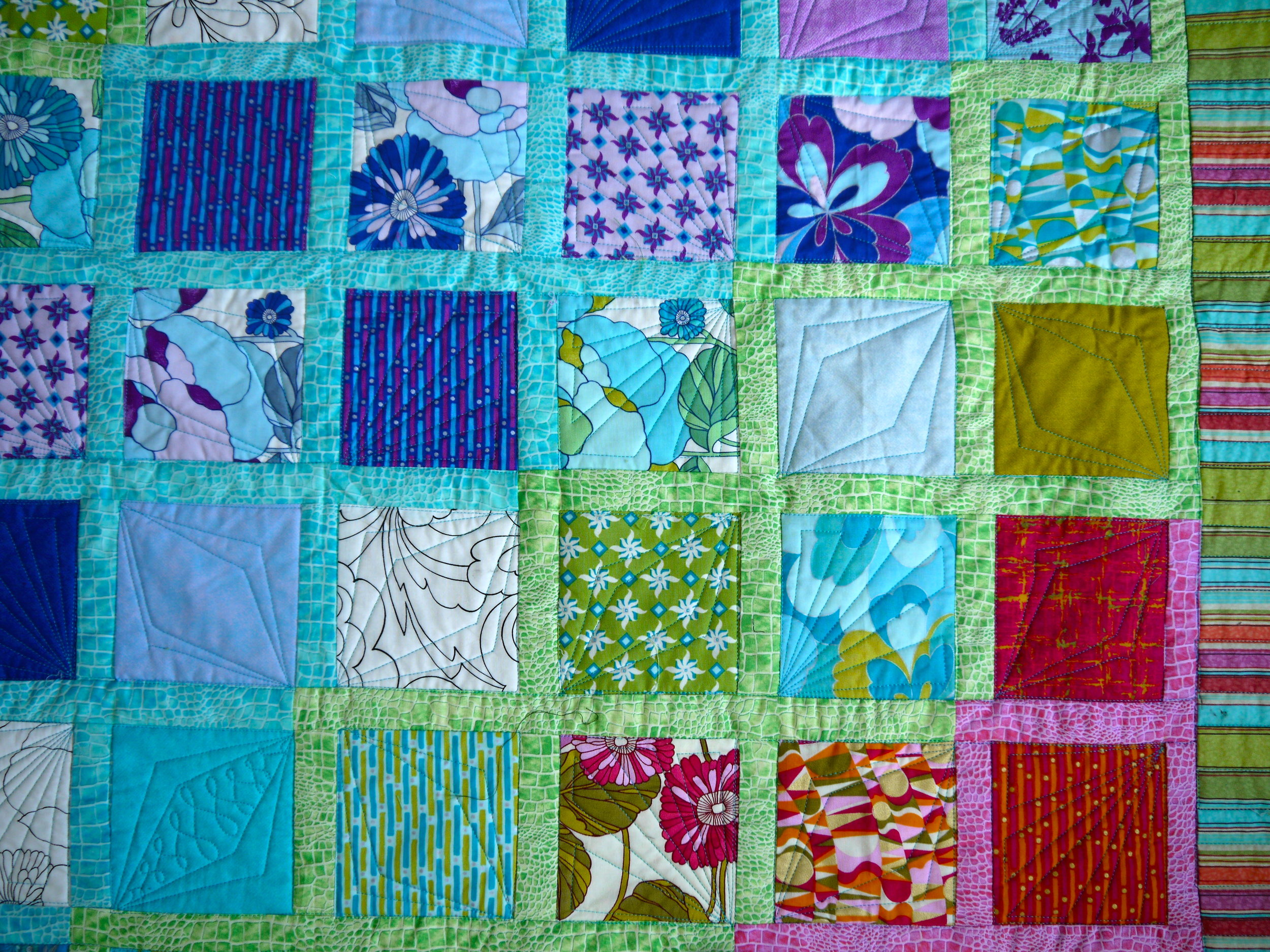 Rainbow Quilt Qulited