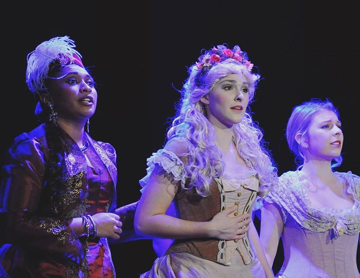 Stephanie Bacastow (middle), Chelsea M. Smith (left), and Naree Ketudat (right) in THE MYSTERY OF EDWIN DROOD.