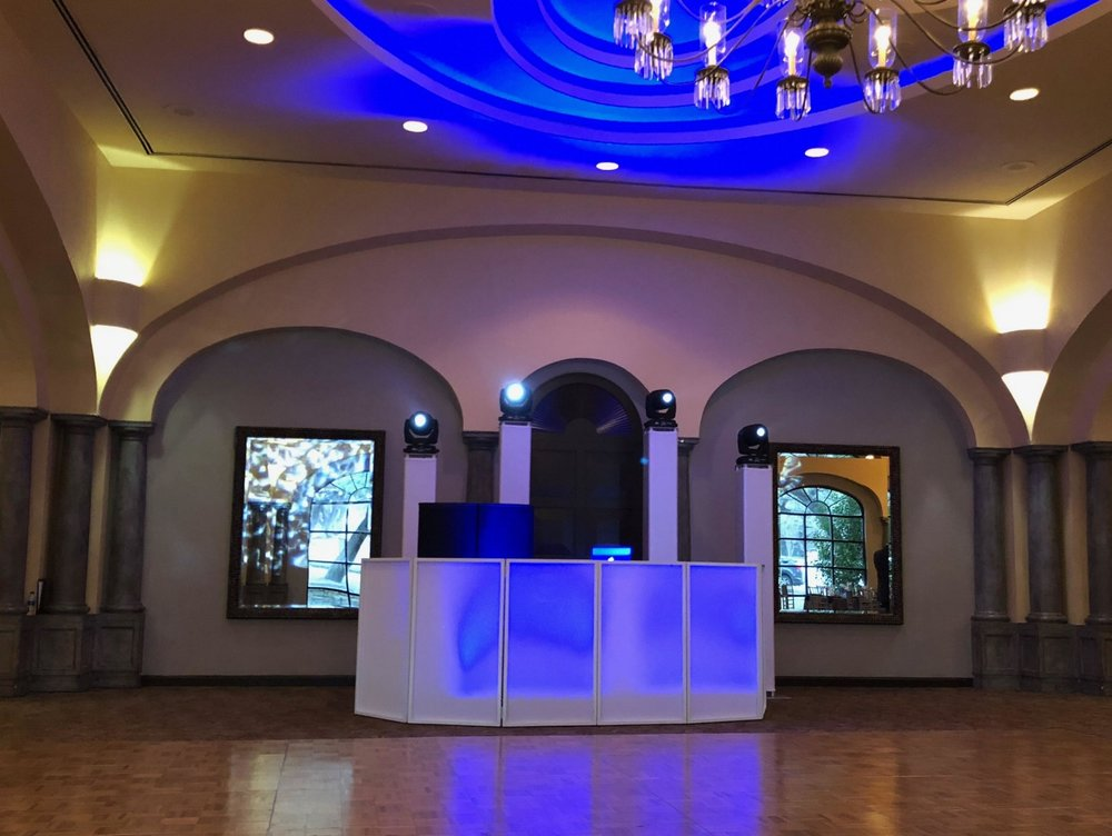 Standard Plus  $ 1500  - CUSTOM MONOGRAM LITE LED FACADE UP To 6 Hours Of ServiceHigh-End Pro Audio Sound SystemLED Intelligent lighting Professional DJProfessional MCWireless Microphone Dinner/Cocktail Hour Music