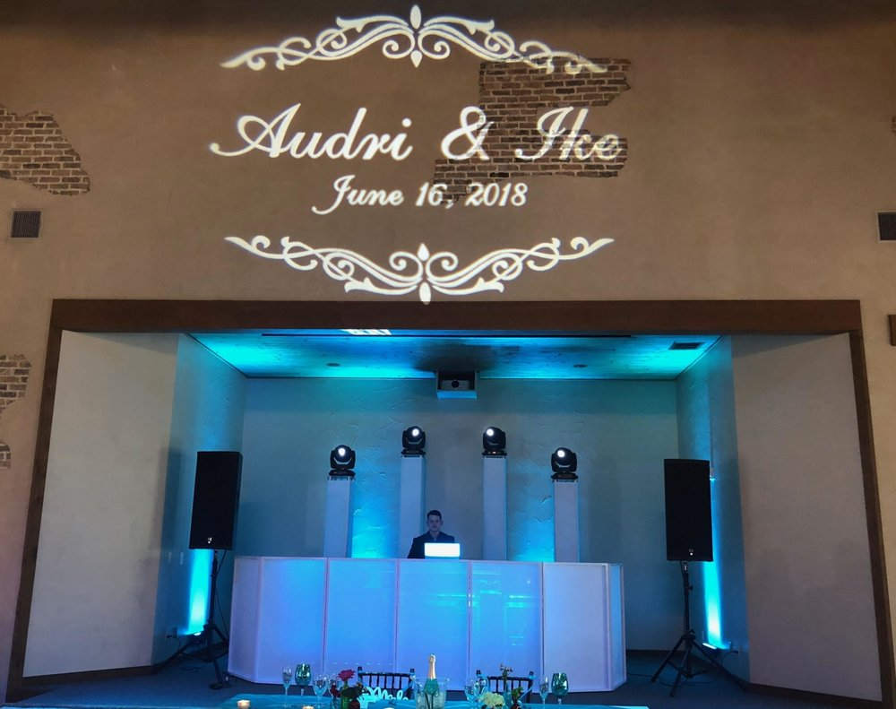 Power Package $1700           - Up To 6 Hours Of ServiceHigh-End Pro Audio Sound SystemLED Intelligent lightingProfessional MCWireless MicrophoneDinner/Cocktail Hour MusicLIT LED FACADECUSTOM MONOGRAM DESIGN12 LED UP-LIGHTS