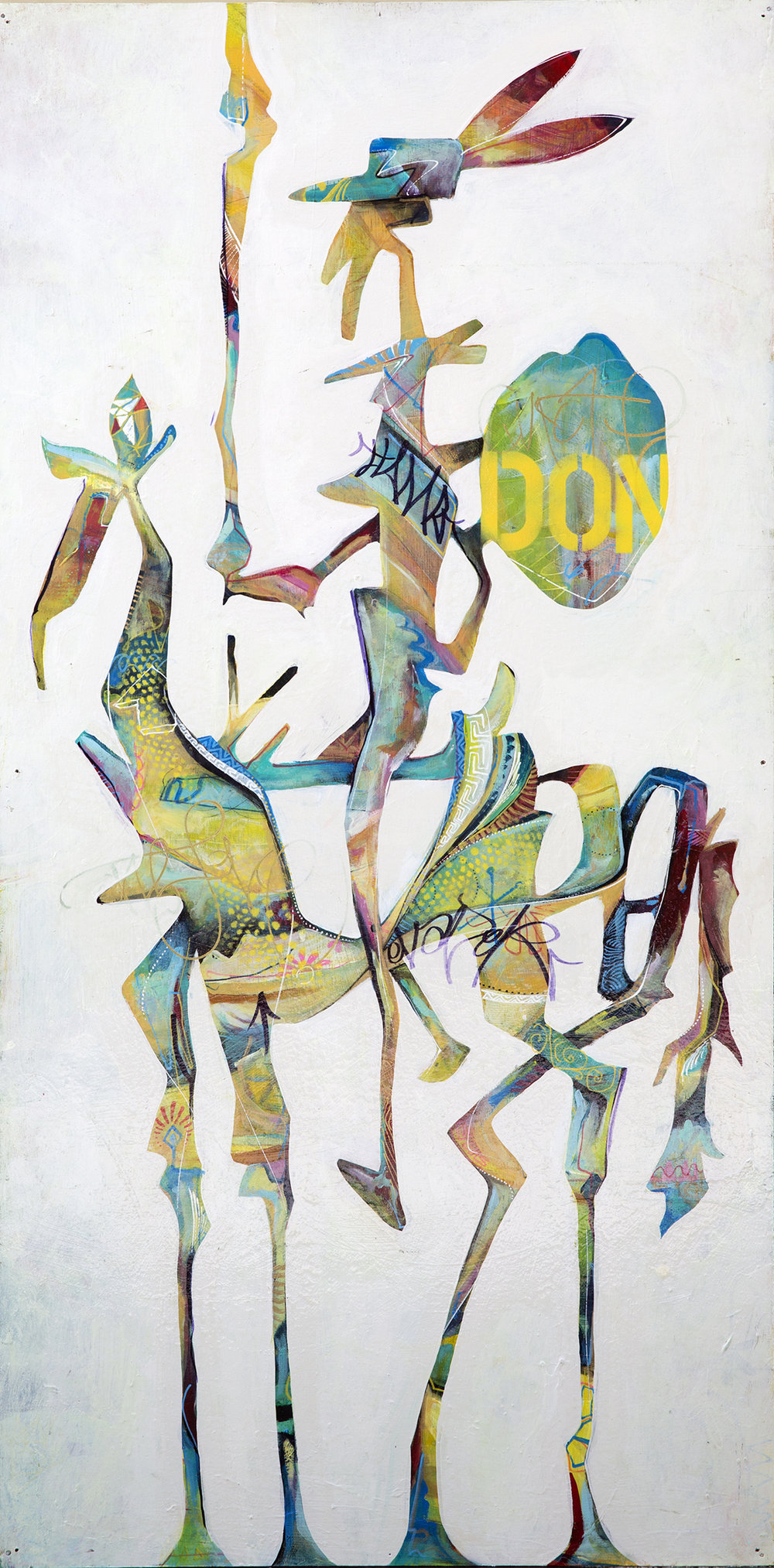 'Don Quixote' Acrylic on wood. 48h x 22w. 2015