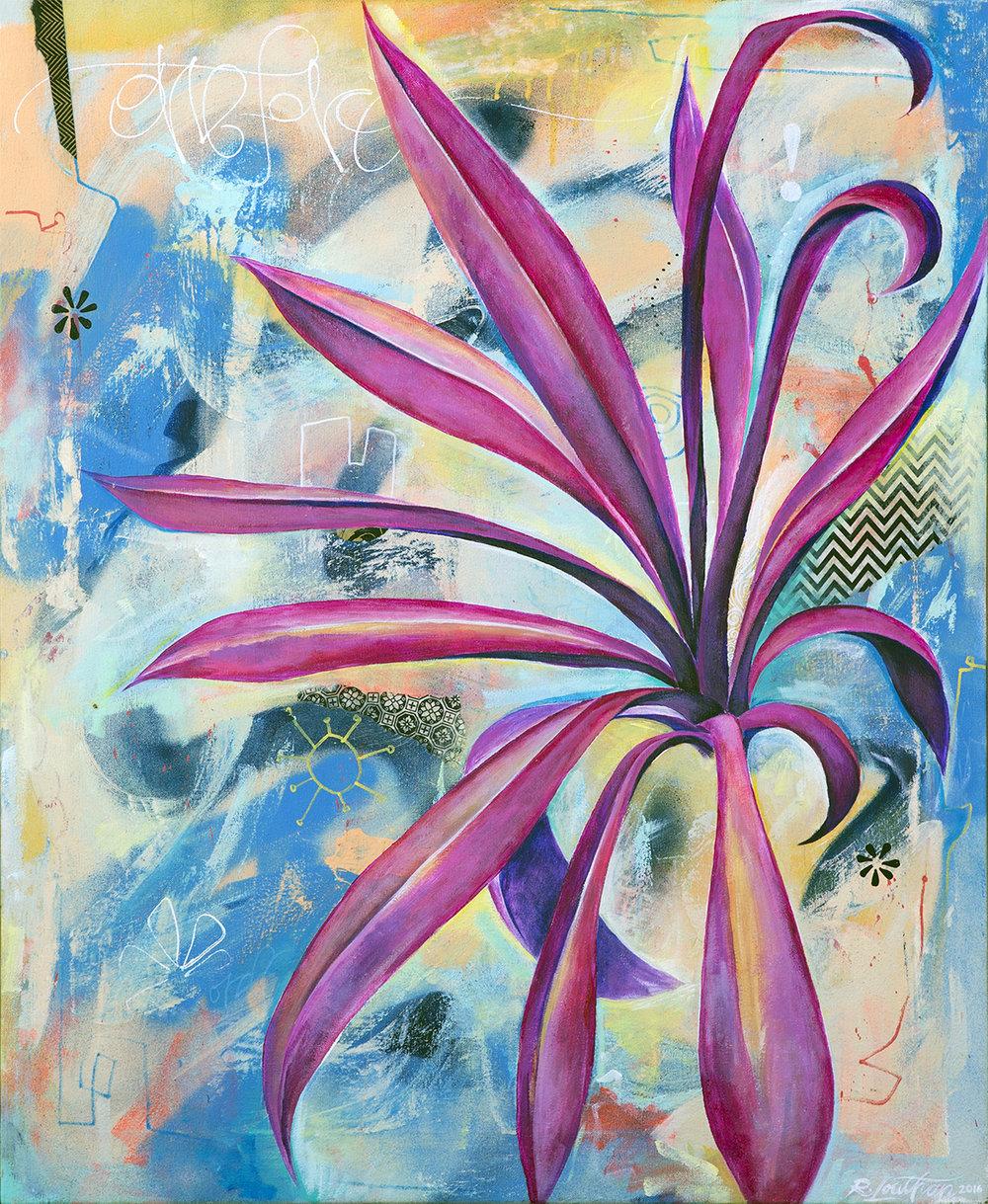 'Flora' Acrylic/Aerosol on canvas. 34h x 28w. 2015