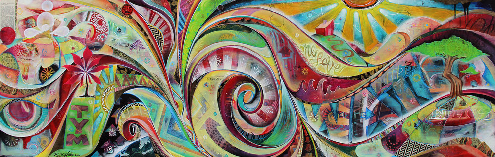 'Inblumentu' Mixed media on wood. 24h x 72w. 2014