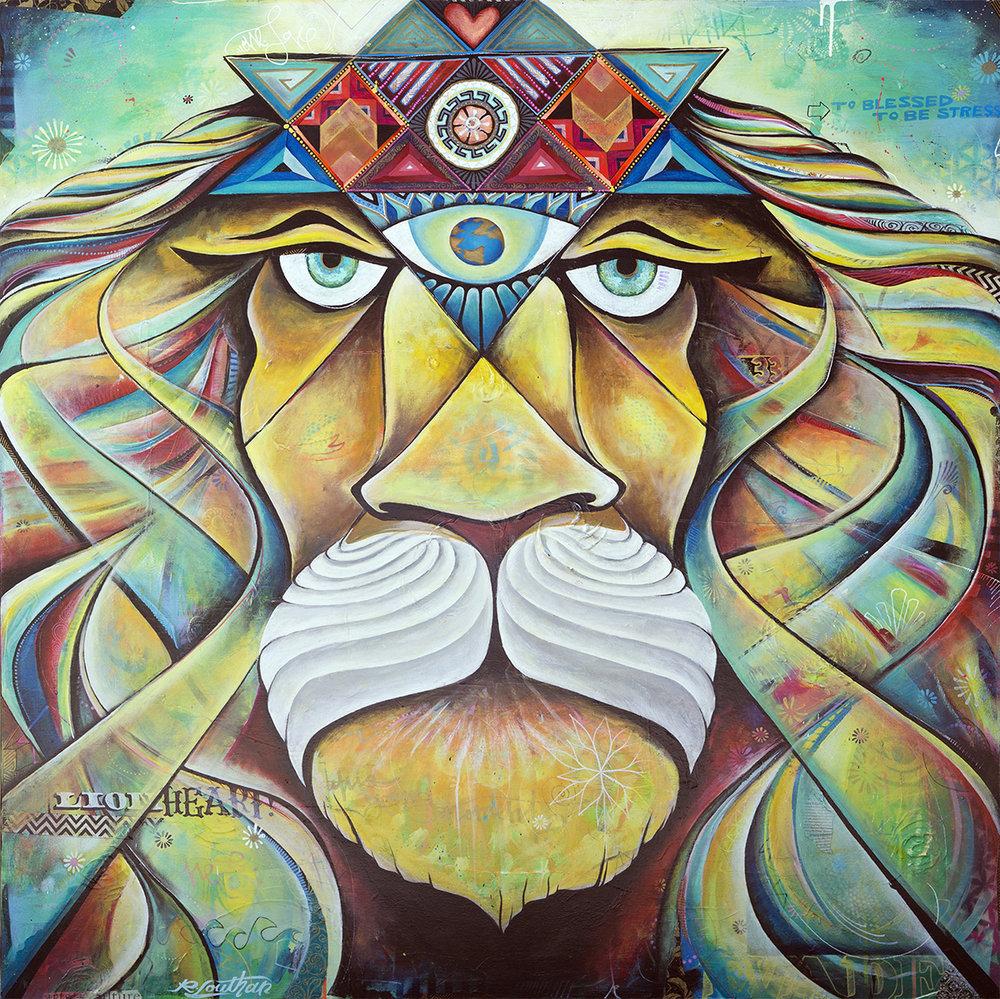 'Lionheart' Acrylic/Aerosol on canvas. 48h x 48w. 2015