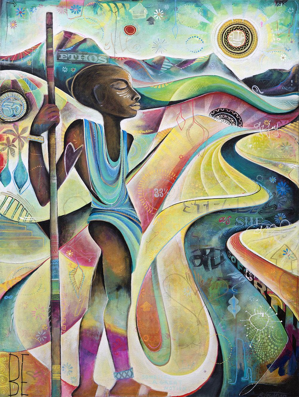 'Warriorah' Acrylic on canvas. 40h x 30w. 2015