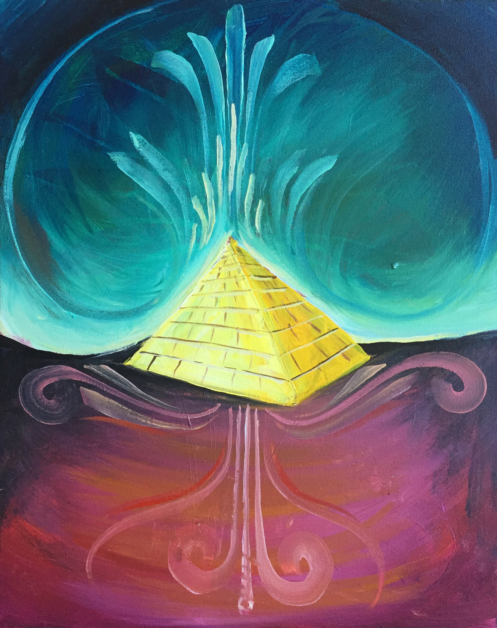 "'Egyptic' Acrylic on canvas. 16""x20"". 2018"