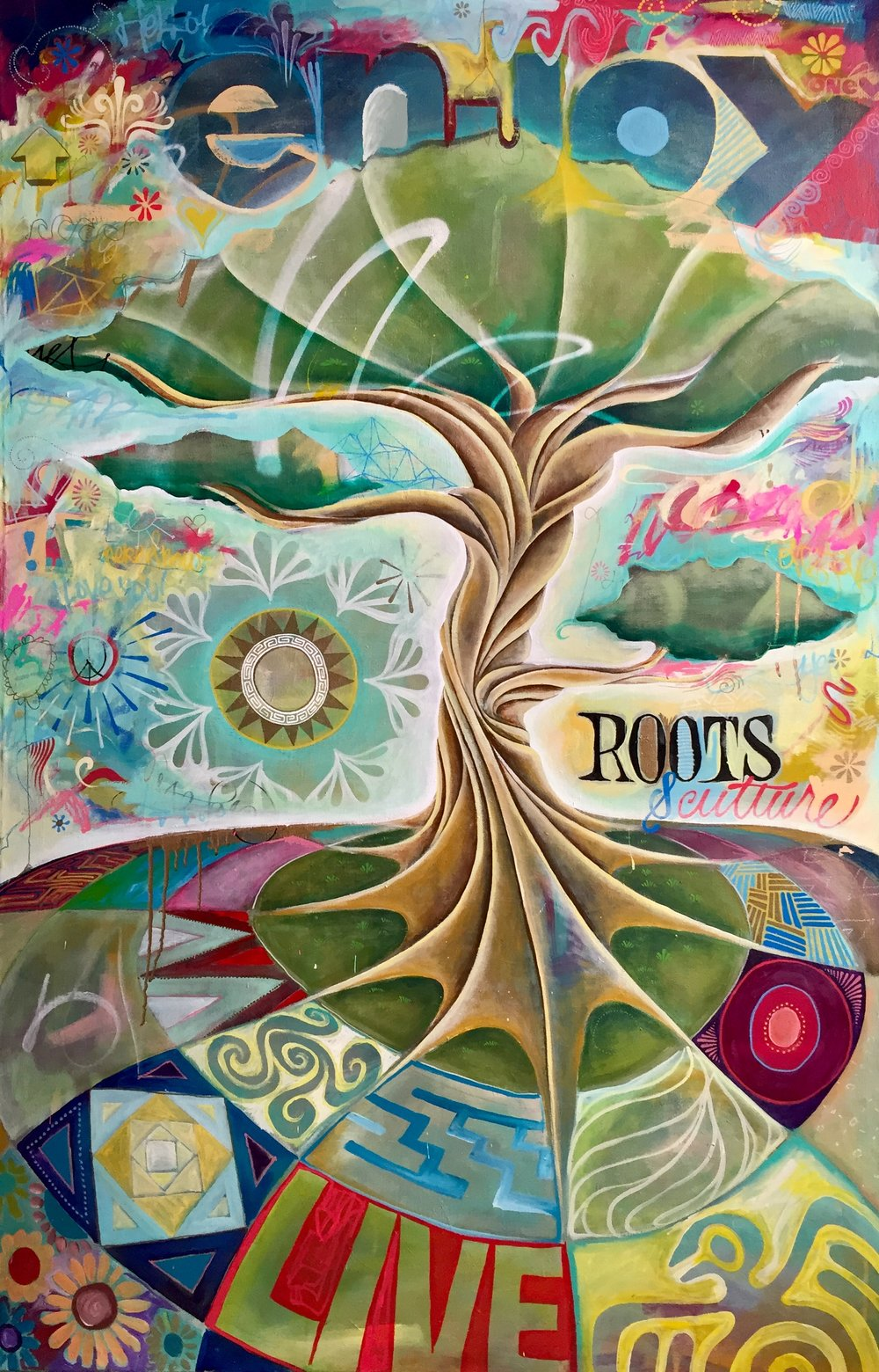 "'Roots and Culture' Acrylic on canvas. 48""x72"". 2018"