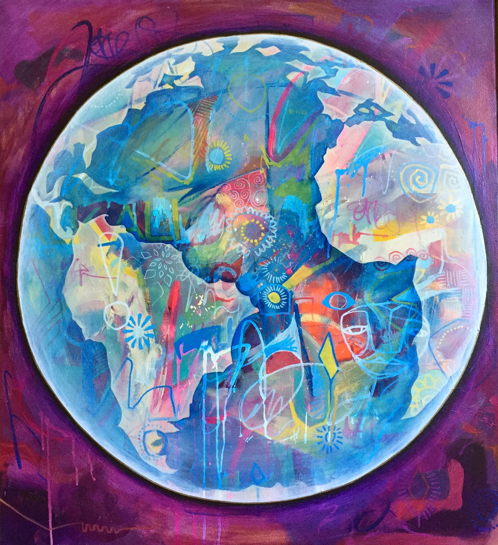 "'Spaceship Earth' Acrylic on canvas. 30""x34"". 2018"