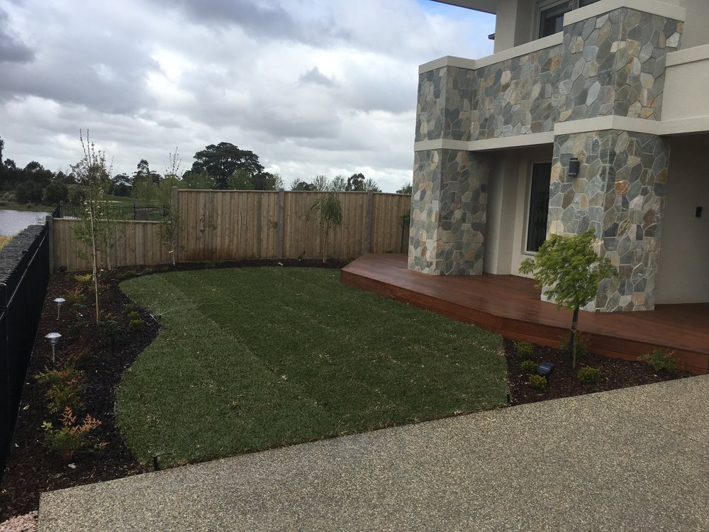Instant turf, garden bed, deck and exposed aggregate