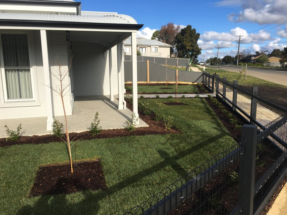 Instant turf, garden beds and feature trees