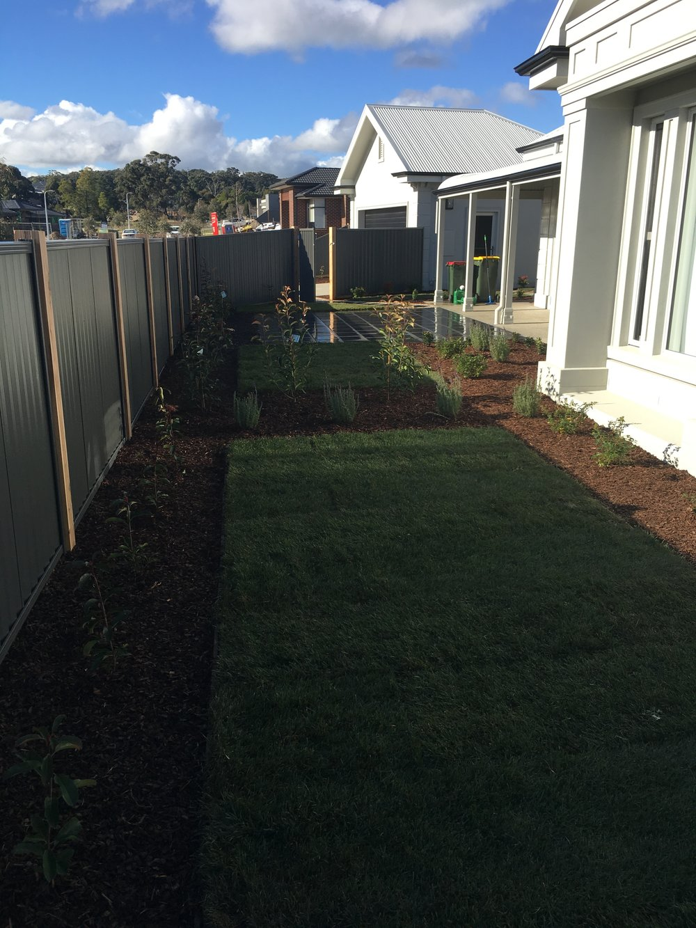 Instant turf and garden beds