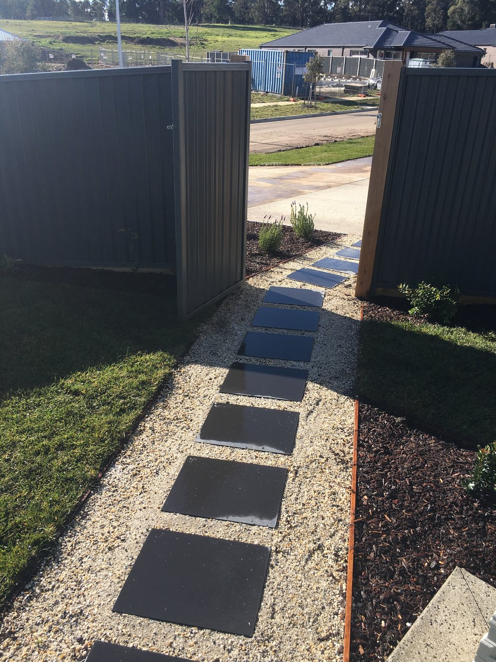 Stepping pavers with pebble infill