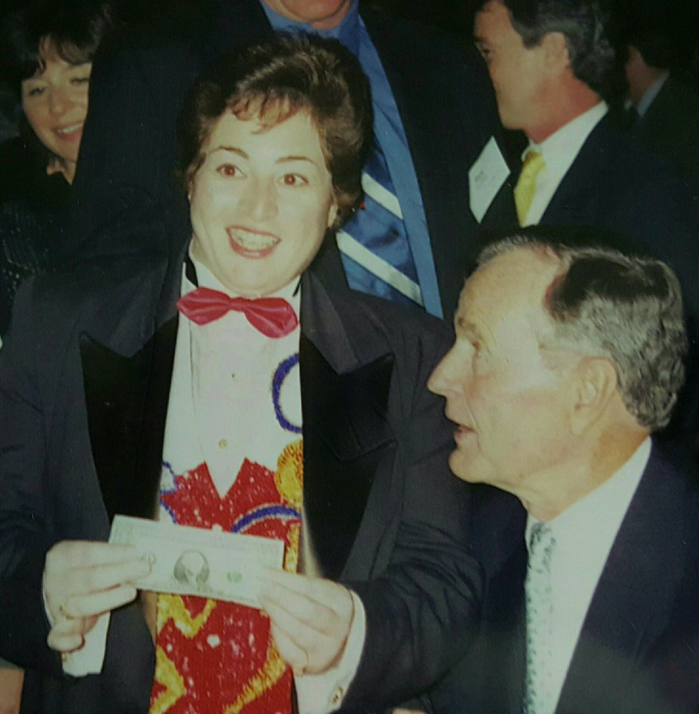 Debbie entertaining President George H.W. Bush