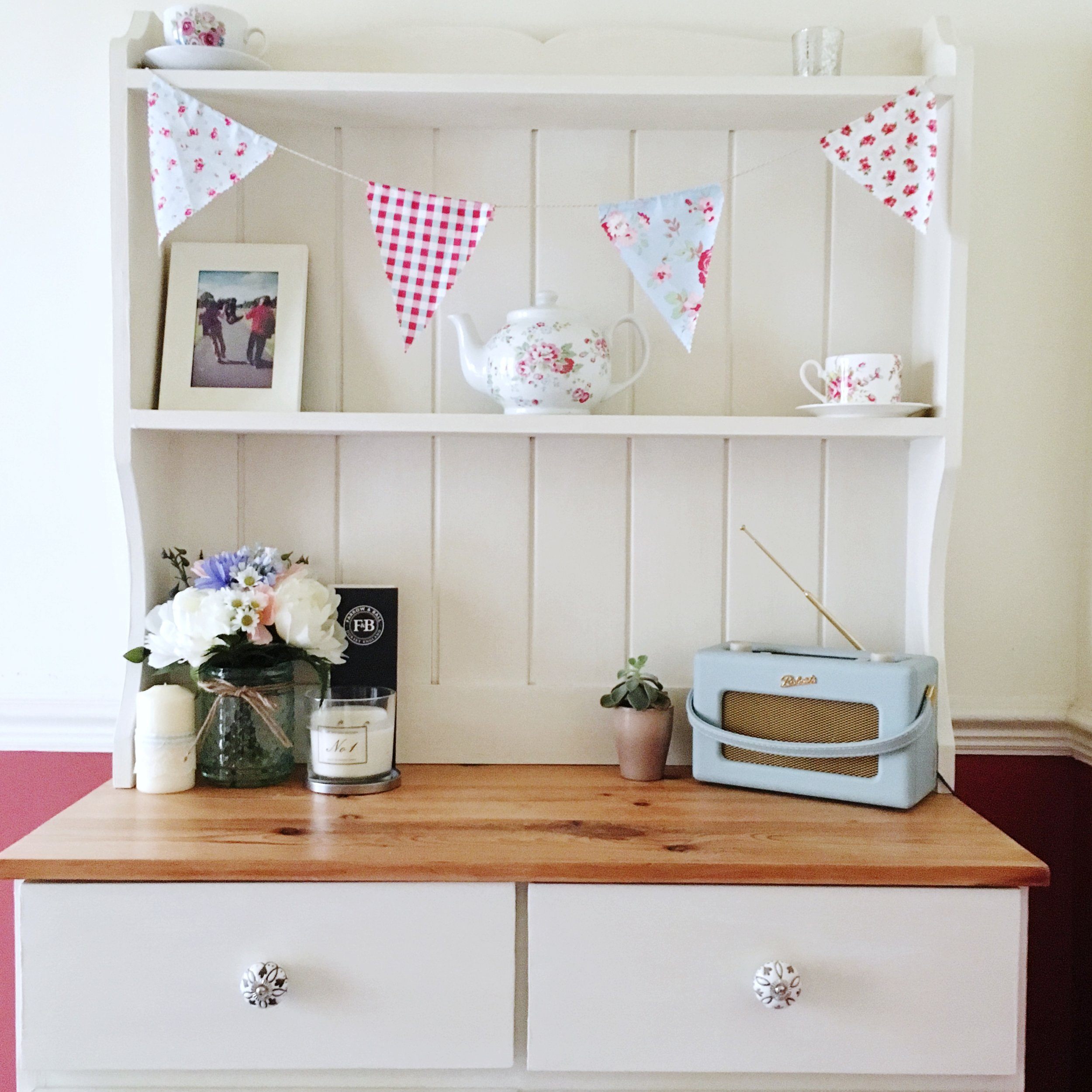 Upcycled pine Welsh Dresser painted with Annie Sloan chalk paint. Pinafores and Peonies.