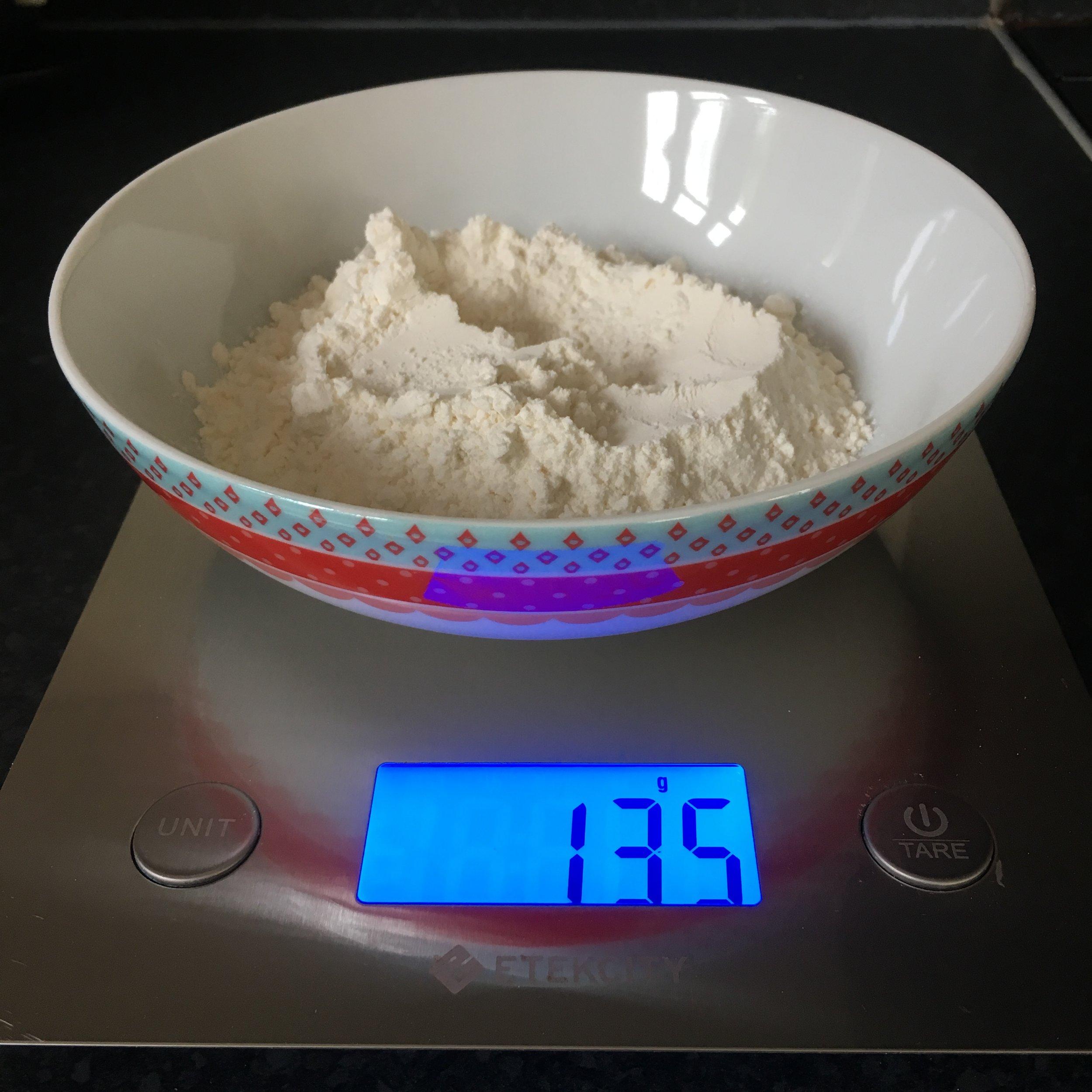 Weighing 135g of gluten free self raising flour