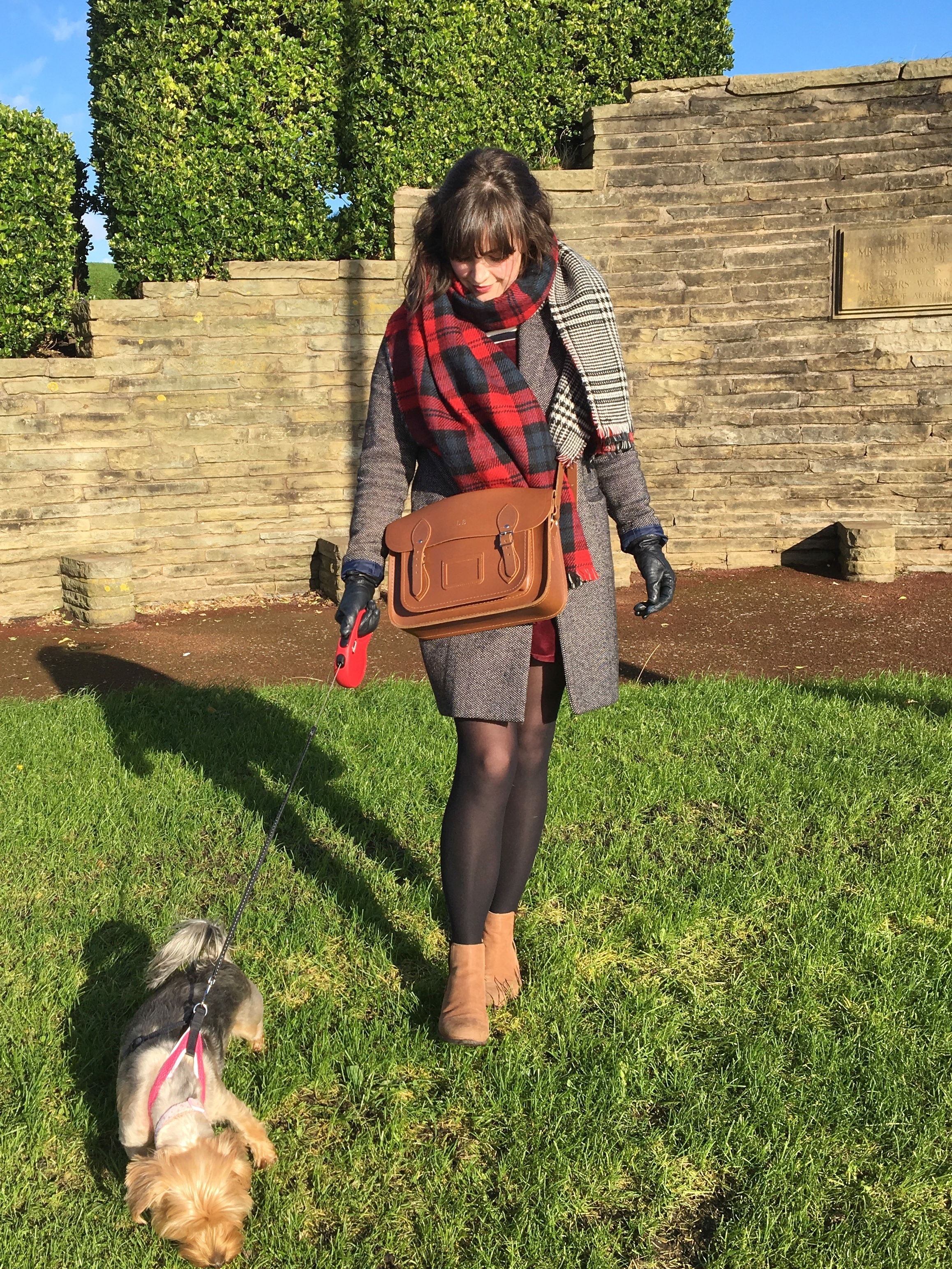 Tan leather Cambridge Satchel, with Cath Kidston tweed coat and Zara tartan scarf. Pinafores and Peonies blog