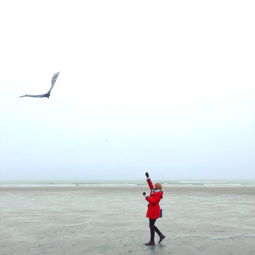 Sometimes, - flying a kite on a misty Irish beach in mid-December is just what you need.
