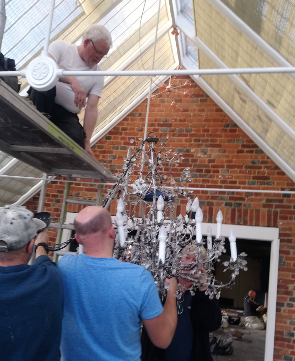 The chandelier came down…(of course there were Only Fools and Horses jokes)