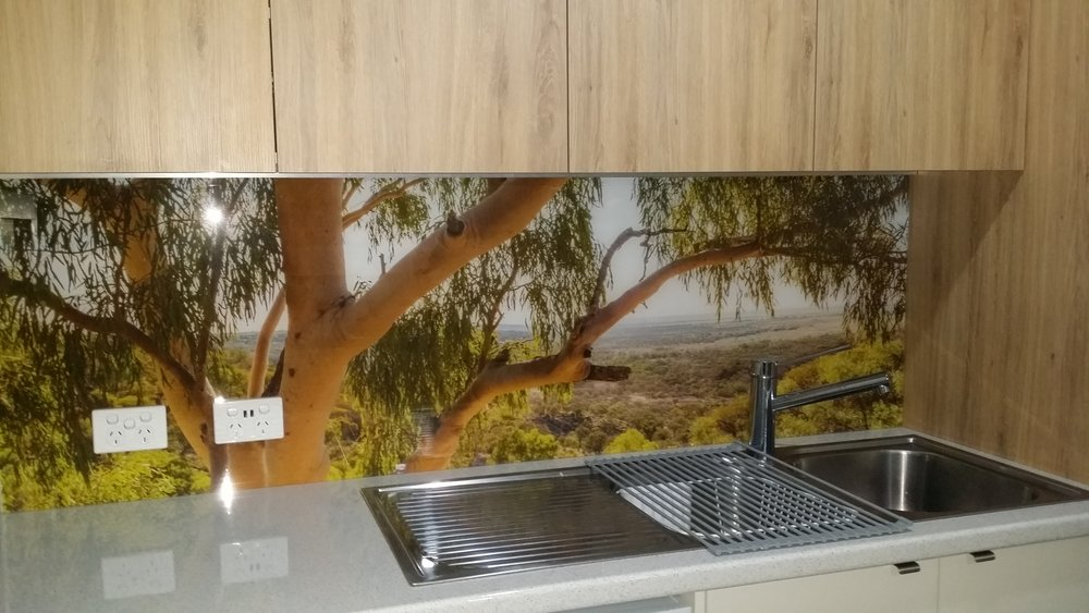 Printed Splashback - Gumtrees and Bush scene