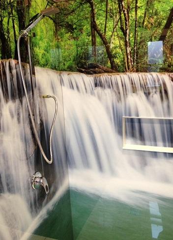 Bathroom Printed Acrylic Splashbacks - Waterfall
