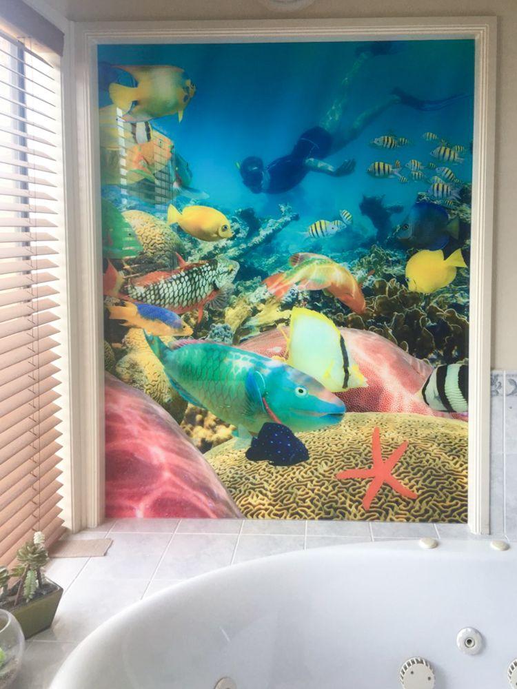 Bathroom Printed Splashback - underwater theme spa surround wall panel