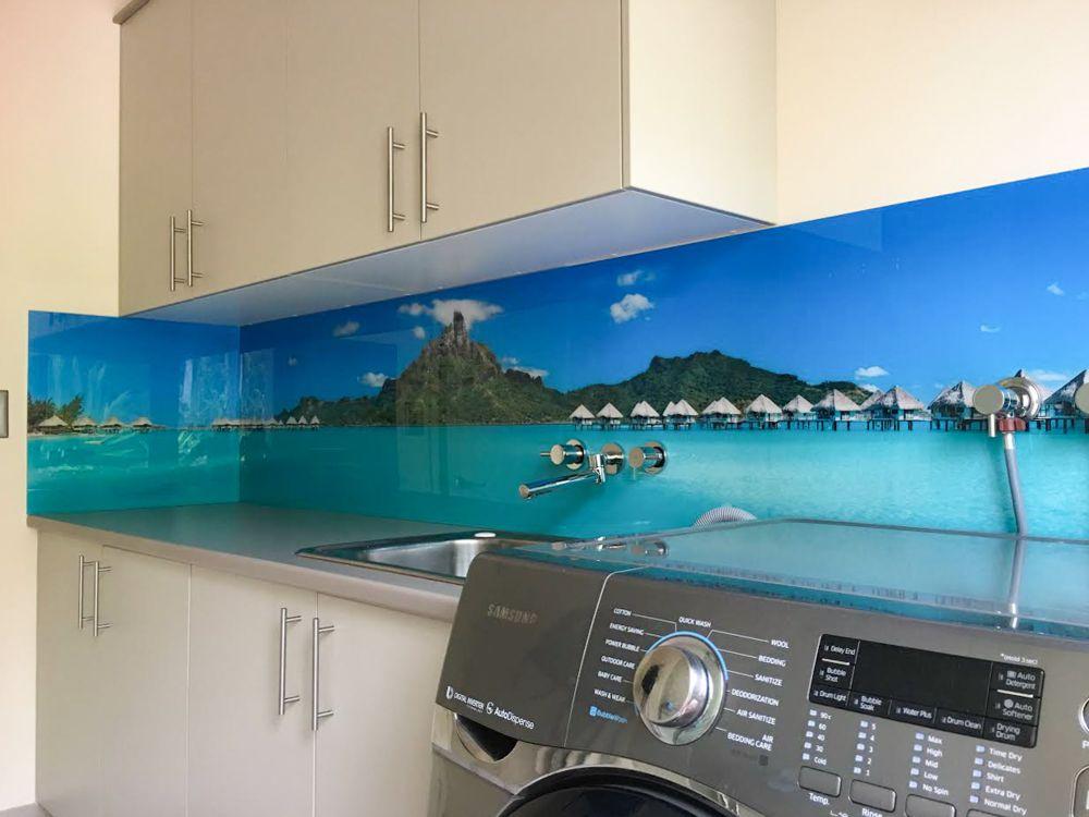 Printed Splashbacks for Laundry - custom beach image
