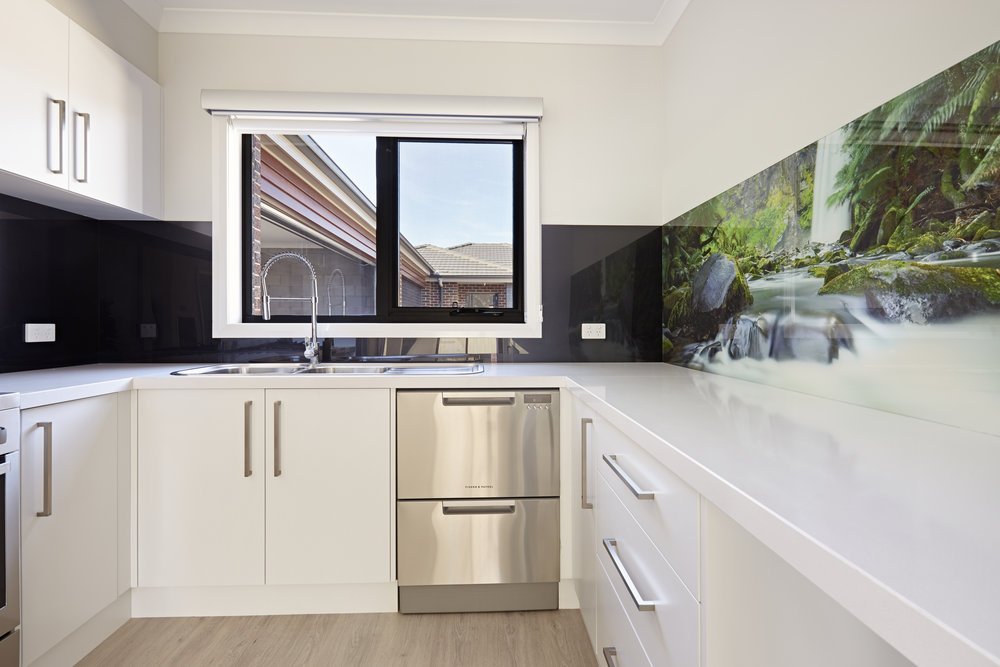 Waterfall image printed kitchen splashback