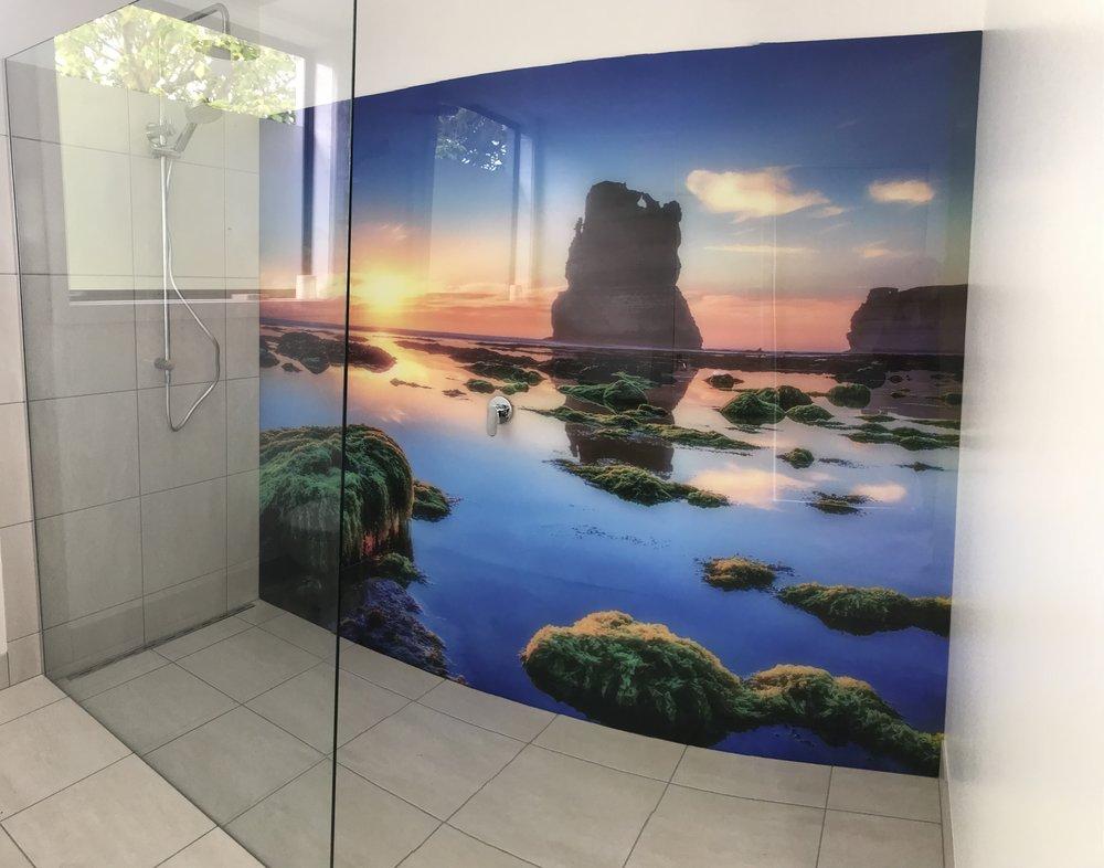Printed Splashback Wall Panel in Shower