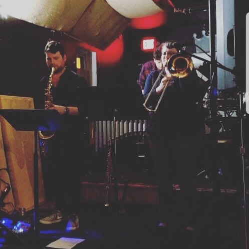 Great night with @glentheboldmandrums @samuelnobles @kristinmariemonroe @iankurlan at @thepharmacycoffee last night! . . . #sax #saxophone #jazz #funk #improv #trombone #bass #drums #vibraphone #music #livemusic #philly