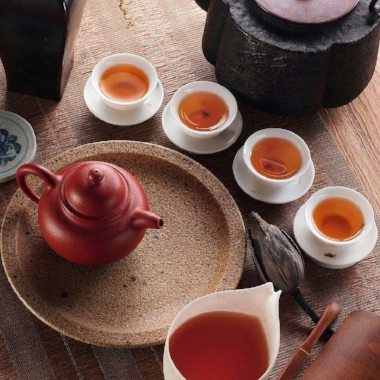 Laying out a tea ceremony