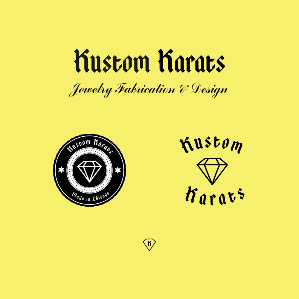 Logo & Branding - Kustom Karats owner Ryan came to me with a request to build out a system of wordmarks, icons, and secondary logo marks. The assets developed would help him brand Kustom Karats. The logo and badge designs are to be used on digital platforms as well as on a variety of tangible goods.
