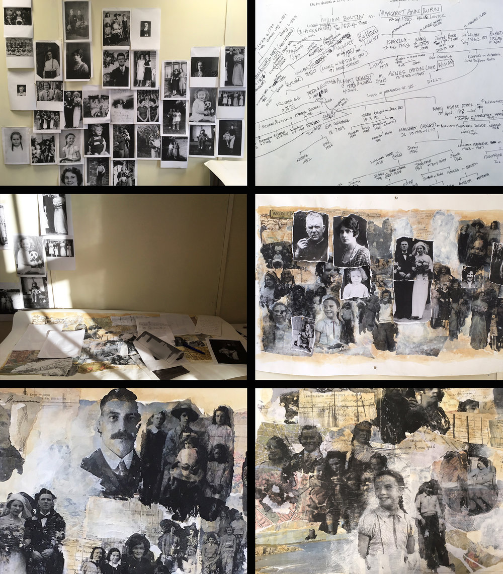 My current work is based on trying to capture a life story and memories with a sense of the ephemerality of time passing. - We all have a history; a name, family structure, ancestors, places we lived and family stories. It's fixed for us in the re-telling, but transient as time passes and more layers are added to the story. In my work, I try to convey the feeling of transience within that fixed structure of a story.I use old maps, certificates, census' to build a structure charting the person's life story, then overlay with washes, transfers from old photos, handwritten sections of the family tree, snippets of personal letters or poems. I would then usually overlay further washes in selected areas to make some images recede. The process of overlay, adding washes and collaging or transferring images might completely cover earlier work, but as in our forgotten snippets of history, or unknown relatives, they are still there. The piece is finished with a bit of selective hand-tinting of the old photos.
