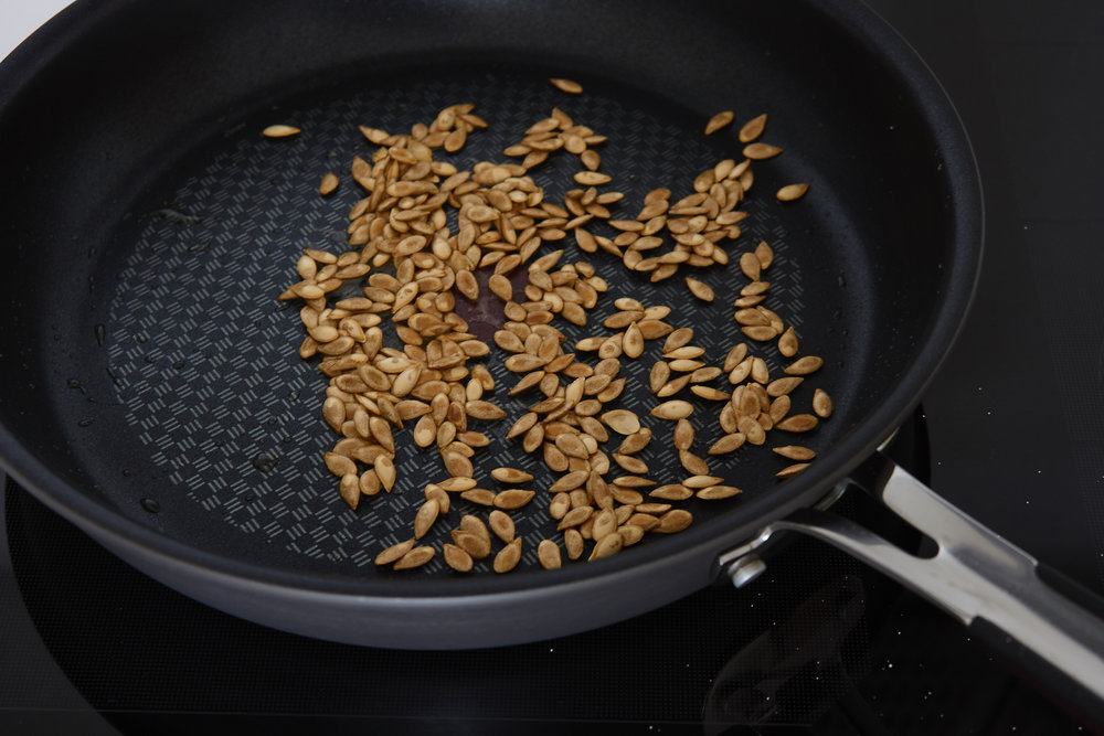How to Roast Pumpkin Seeds - the ready, roasted seeds, with olive oil and salt | In Carina's Kitchen