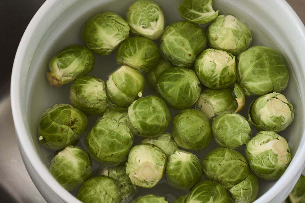 Brussels Sprout Salad - the washed sprouts | In Carina's Kitchen