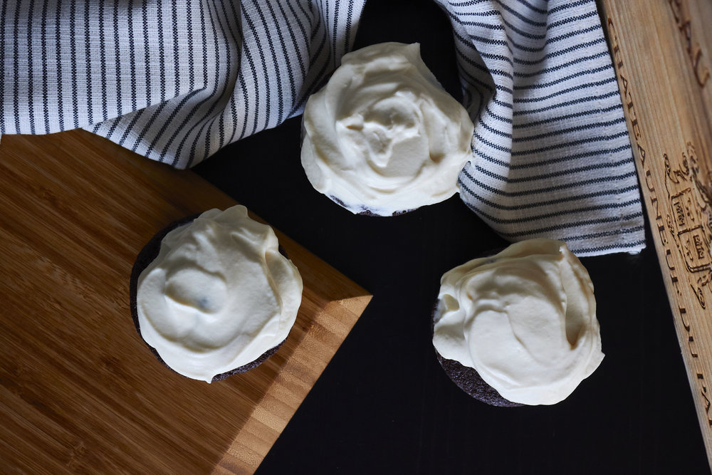 Chocolate & Guinness Cupcakes with Bailey's Frosting - with the frosting on top   In Carina's Kitchen