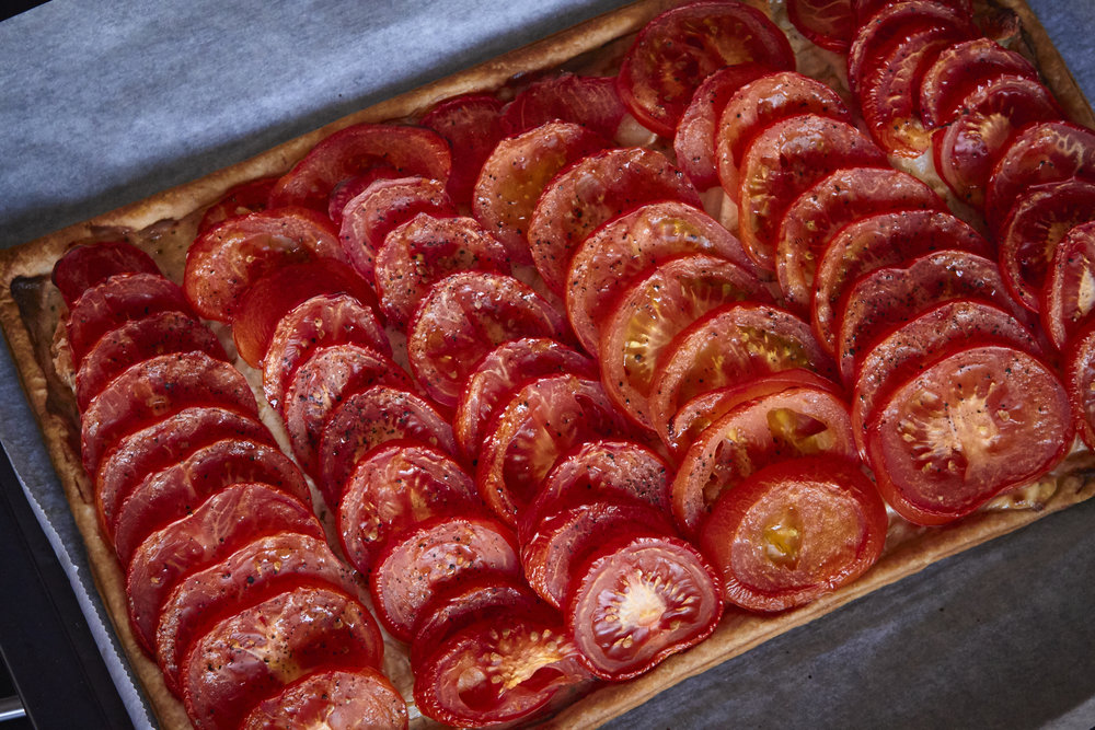 Tomato & Goat Cheese Tart - the tart right out of the oven with the beautiful roast tomatoes   In Carina's Kitchen