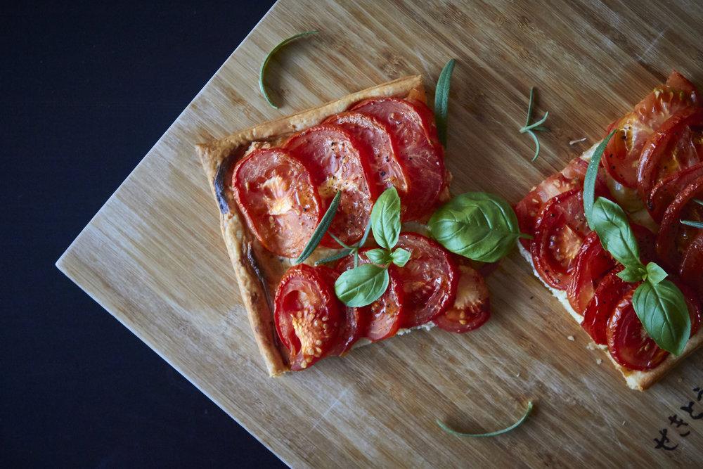 Tomato & Goat Cheese Tart - the finished, garnished tart   In Carina's Kitchen