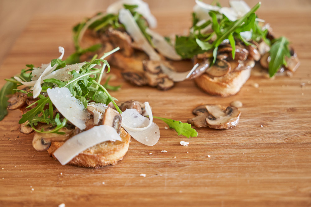 Creamy Mushrooms on Toast with Rocket Leaves and Parmesan | In Carina's Kitchen
